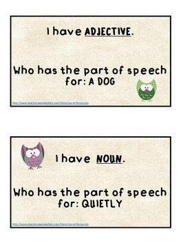 """Parts of Speech """"I Have Who Has"""" Game"""