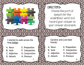Parts of Speech II Task Cards