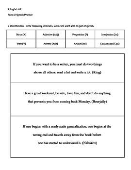 Parts of Speech Identification & Imitation Worksheet