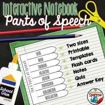 Parts of Speech Interactive Notebook Activities: Middle and High School Students