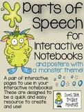 Parts of Speech ~ Interactive Notebook Pages and Posters with a Monster Theme!