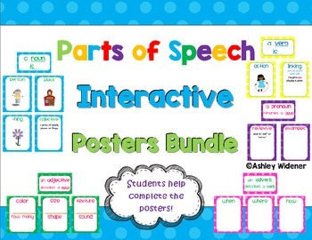Parts of Speech Interactive Poster/Anchor Chart Pack Polka Dots