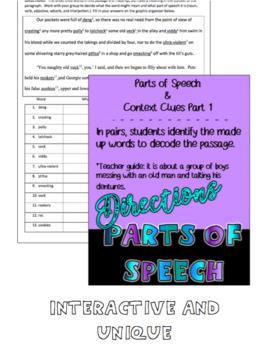 Parts of Speech- Interactive Practice for Older Students- Grades 8-11 NO PREP