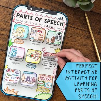 Parts of Speech Interactive VocAPPulary™ - Grammar Vocabulary Activity