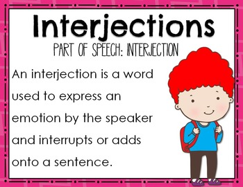 FREEBIE! Parts of Speech: Interjection Mini Books & Poster Set
