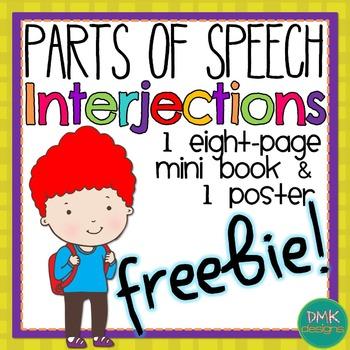 FREEBIE! Parts of Speech: Interjection Mini Books & Poster Set