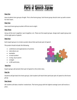 Parts of Speech Jigsaw