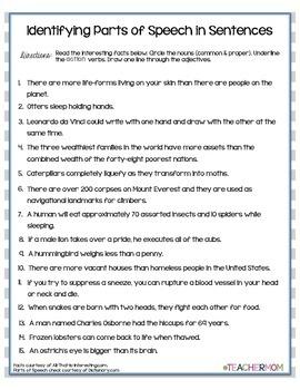 Parts of Speech Jumbo Activity Pack