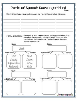 Parts of Speech Jumbo Activity Pack