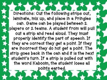 Parts of Speech Kaboom Game Freebie