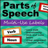 Parts of Speech Cards - Middle School