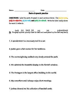 Parts of Speech:  Labeling Sentences