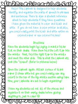 Parts of Speech Lap Book Activity