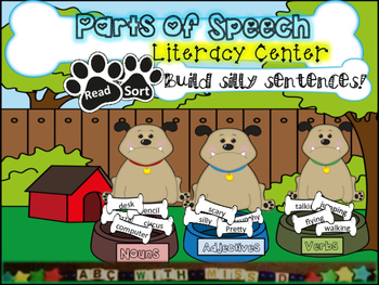 Parts of Speech Literacy Center- Sorting Game and Writing