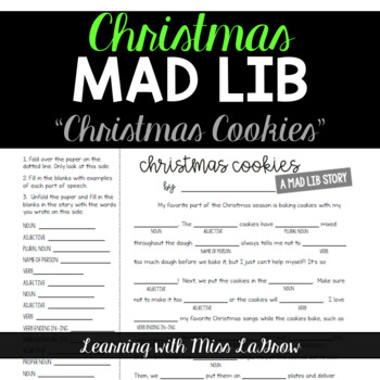 parts of speech mad libs christmas cookies - Christmas Mad Libs For Adults
