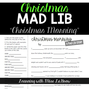 Parts of  Speech Mad Libs - Christmas Morning