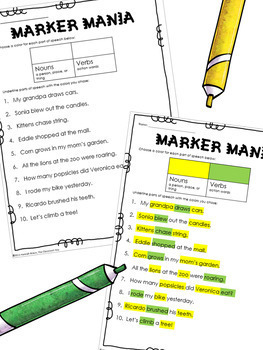 Parts of Speech Practice Activity or Center