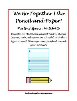 Parts of Speech Match Up