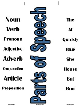 Parts of Speech Match Up Cards