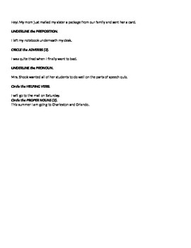 Parts of Speech Matching Quiz