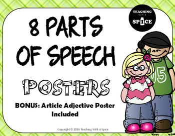 Parts of Speech Posters, Melonheadz Theme, Common Core, Fi