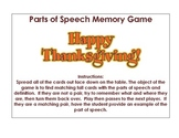 Parts of Speech Memory Game *FREEBIE*