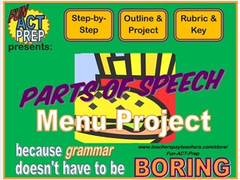 Parts of Speech Menu Project: NO PREP, Step-by-Step Project w/ Rubric & Quiz
