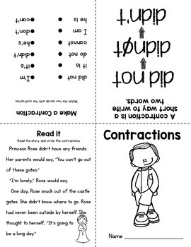 Parts of Speech Mini Books: Compound Words & Contractions