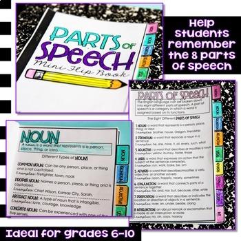 Parts of Speech Mini Flip Book