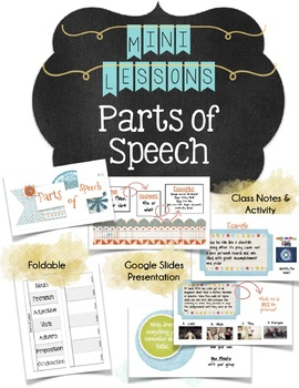 Parts of Speech Mini Lesson Slides, and Activities for Middle School