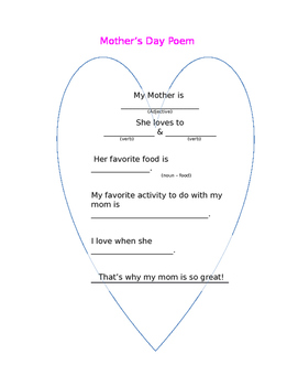Parts of Speech Mother's Day Poem
