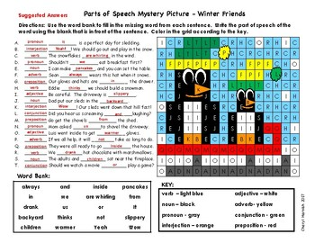 Parts of Speech Mystery Picture - Grammar - Winter Theme - Words in Context
