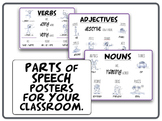 Parts of Speech - NOUNS, VERBS, ADJECTIVES classroom posters.
