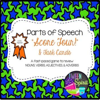 "PARTS OF SPEECH (NOUNS/VERBS/ADJECTIVES/ADVERBS) ""Score Four!"" Task Card/Games"