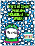 Parts of Speech No Prep Printable- FREEBIE of the WEEK!