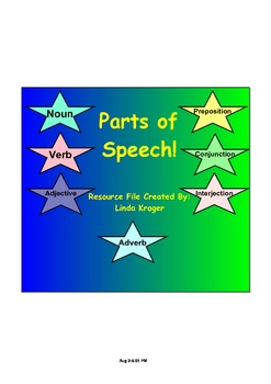 Parts of Speech-Notes, Activities, Songs, and Games!