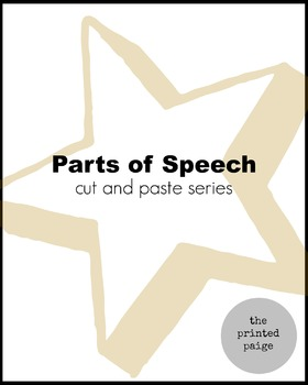 Parts of Speech - Noun, Verb, Adjective, Adverb Cut and Paste Sort