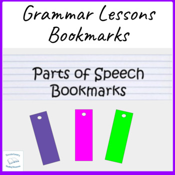 Parts of Speech Noun Verb Adjective Conjunction Book Marks