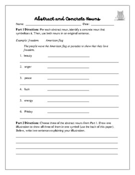 Parts of Speech:  Nouns (Worksheets, Quiz, and Project)