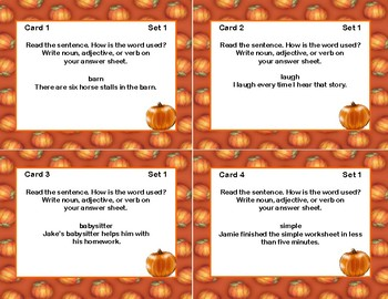 Parts of Speech: Nouns, Adjectives, and Verbs-32 task cards-Fall Theme