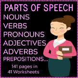 Parts of Speech | Noun | Verb | Adjective | Adverbs | Prepositions | ELA Bundle