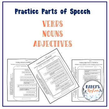 Parts of Speech Worksheets for 1st grade & 2nd grade