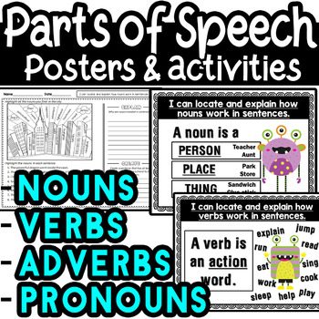 Parts of Speech Nouns, Verbs, Pronouns, Adverbs Posters