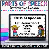 Parts of Speech Nouns, Verbs and Adjectives Google Slides