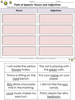 Parts of Speech: Nouns and Adjectives Cut and Paste Activity - King Virtue