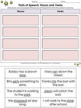 Parts of Speech: Nouns and Verbs Cut and Paste Activity - King Virtue
