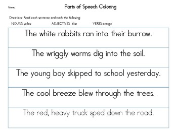 Parts of Speech: Nouns, verbs and adjectives sentence coloring