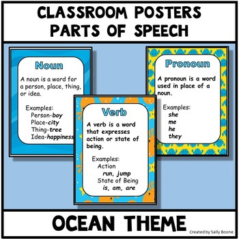 Parts of Speech Ocean Theme Anchor Charts Posters