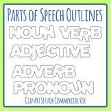 Parts of Speech Outlines Clip Art Set for Commercial Use