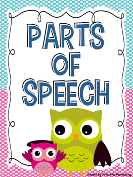 Parts of Speech Owl Themed Bulletin Board Posters!